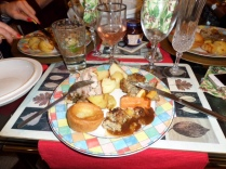 Roast Chicken, stuffing, yorkshire pudding, roast potato and veg