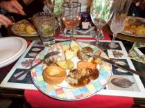 Roast Chicken, stuffing, yorkshire pudding, roast potato and veg